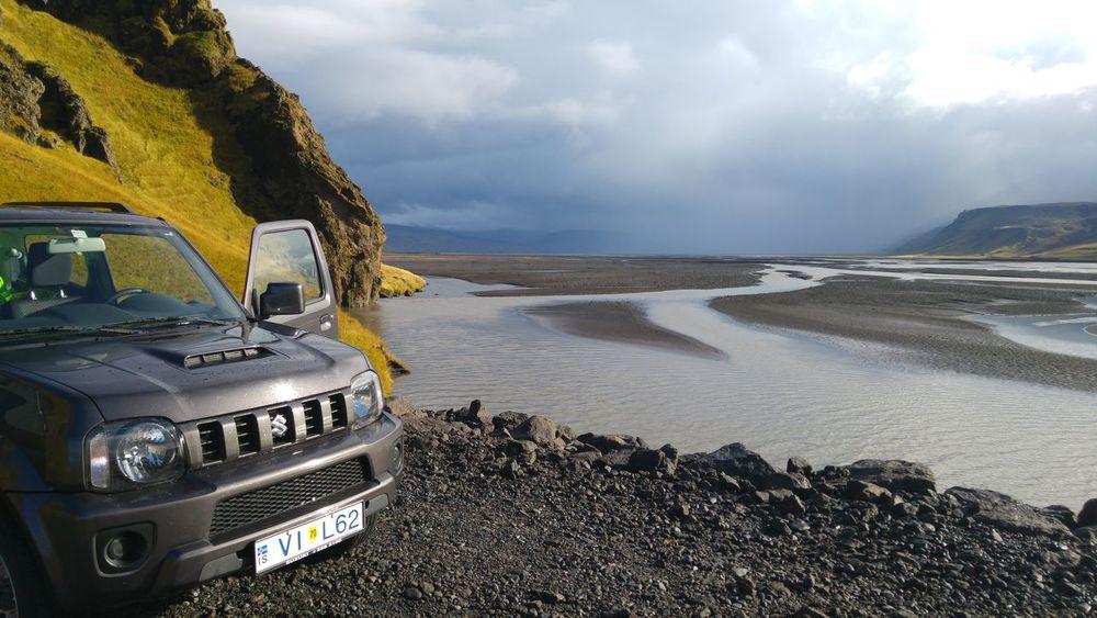 Car Cloud - Sky Water No People Outdoors Clouds Rain Riverside River Iceland Scenics Beauty In Nature Landscape Nature Travel Destinations Suzuki