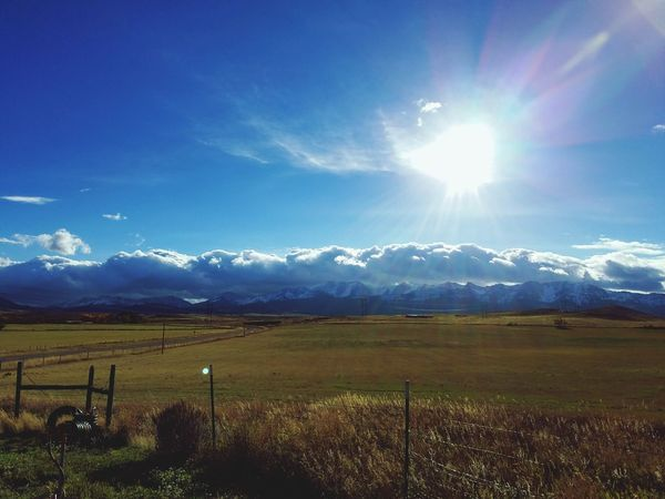 Montana Sky Montanacolors Rural Scene Agriculture Field Sunlight Sky Landscape Barbed Wire Sun