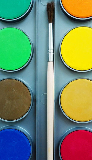 Close-up of watercolor paints