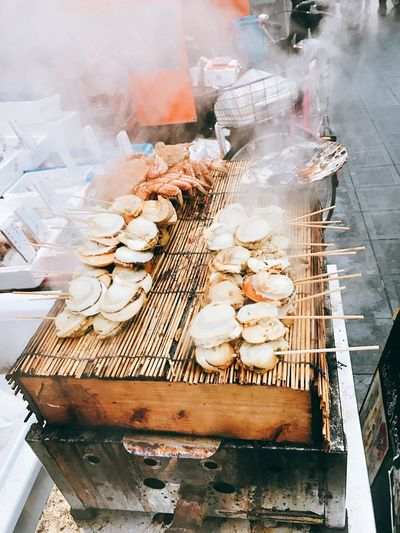 Food And Drink Food For Sale Skewer Retail  Market Grilled Smoke - Physical Structure Large Group Of Objects Freshness Outdoors Abundance Day Healthy Eating Barbecue No People Close-up Japan OSAKA Streetfood EyeEmNewHere The Week On EyeEm Streetphotography Seafoods