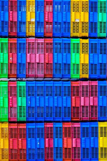 Full frame shot of plastic crates