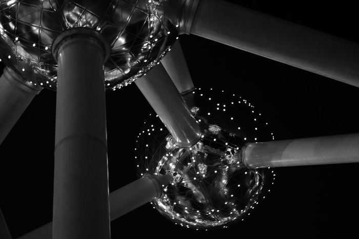 Atomium Blackandwhite Brussels Close-up Illuminated Motion Night Night Lights Nightphotography