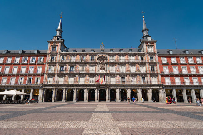 Plaza in Madrid Architecture Building Exterior Built Structure City Clear Sky Day History Madrid Madrid Spain Madrid, Spain Outdoors Plaza Real Plazamayor Sky Travel Destinations