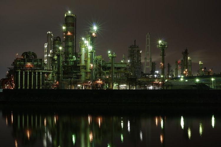 工場夜景 Industry Business Finance And Industry Factory Night No People