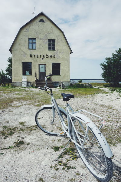 Architecture Bicycle Bicycles Building Exterior Built Structure Burgsvik Cafe Cloud - Sky Day Gotland Gotland, Sweden Grass House Landscape Mode Of Transport Nature No People Outdoors Sky Stationary Sweden Sweden Nature Sweden-landscape Transportation Tree