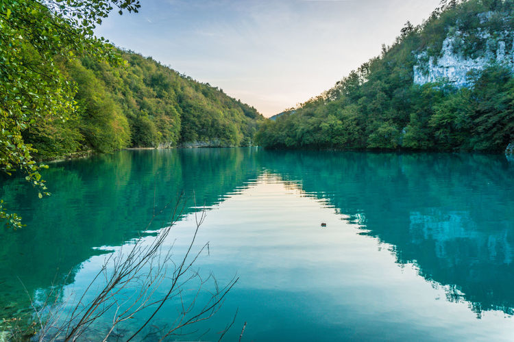 Perfect lake reflection at Plitviče Lakes National Park, located in central Croatia. Symmetry In Nature Breathtaking View Croatia Freshness Green Magnificent Panoramic View Peace And Quiet Plitvice Lakes National Park Reflection Tourist Attraction  Travel Beauty In Nature Day Emerald Lake Lake View Landscape_photography Mountain Nature Outdoors Plant Scenery Travel Destinations Tree Water Reflection Tranquility Scenics - Nature Lake Green Color