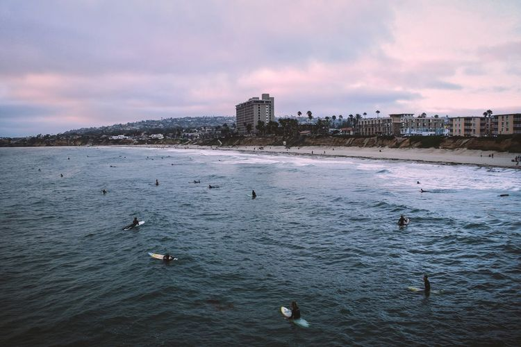 California San Diego Surfer Surf Sky Water Cloud - Sky Architecture Sea Built Structure Nature Building Exterior Beach Land Beauty In Nature Sunset City Scenics - Nature Bird Waterfront Building Outdoors #urbanana: The Urban Playground My Best Travel Photo A New Beginning