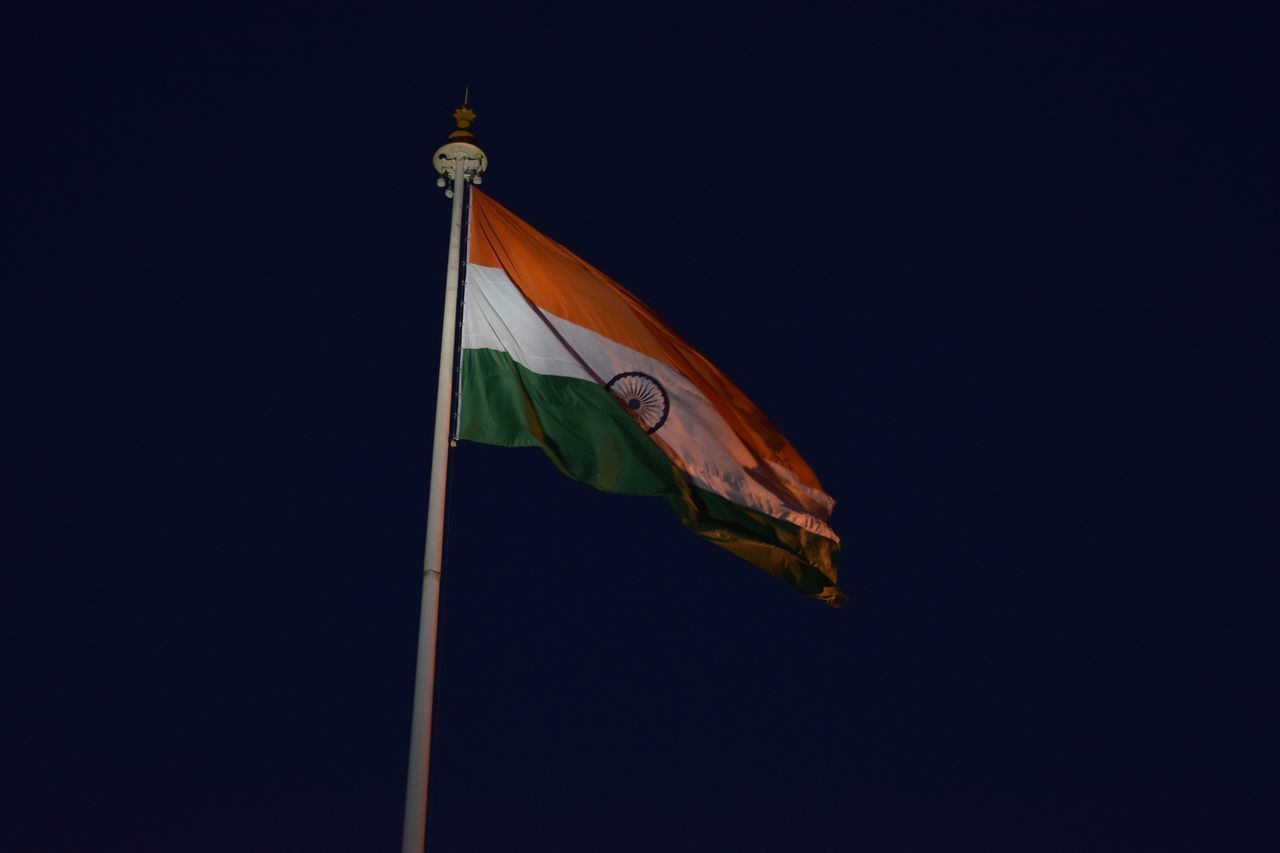 flag, patriotism, low angle view, pride, no people, copy space, night, outdoors, clear sky, politics and government, sky