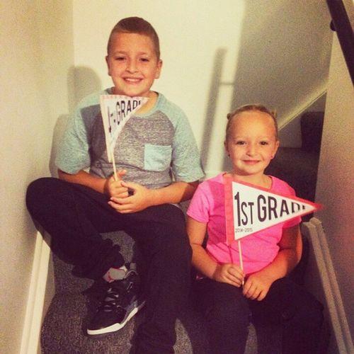 My niece and nephew on their first day back to school! GradeFOUR GradeONE Nephew  Niece  Jordans SoCute LoveThem.