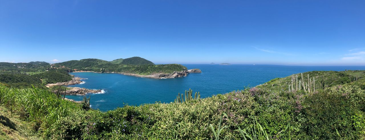 Panoramic view Brazil Travel Destinations Panoramic Photography Panorama Buzios-RJ Water Plant Beauty In Nature Sky Sea Scenics - Nature Blue Tranquility Nature Growth Tranquil Scene Day No People Land Mountain Outdoors Bay Green Color Copy Space