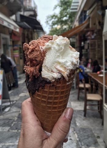 People Athens Icecream Ice Cream Summer Hand Holding Hold Outdoors Eat Street Delicious Yummy Female White Caucasian Sweet Dessert Cone Italia Italian Chocolate Cream Summertime Greece