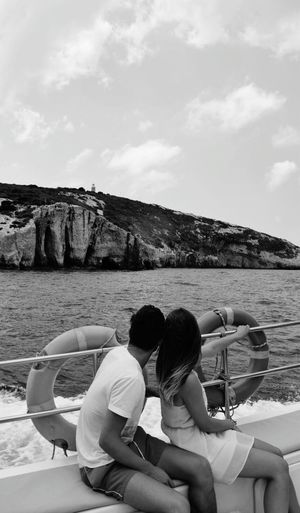 Outdoors Adult Day Holding Sky The Week On EyeEm Blackandwhite Blackandwhite Photography Black And White Collection  Couple Couple In Love Coupletravel Couplephotography Greece Boat Deck Cruise Vacations
