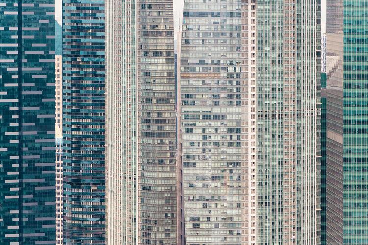 Full frame of modern skyscraper in city