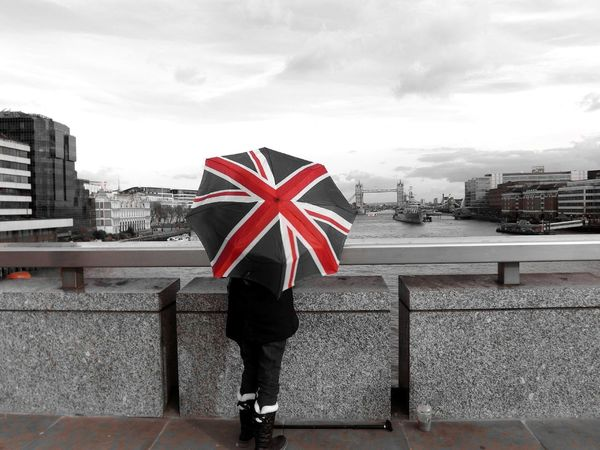 Showcase March London colour splash View Architecture Hello World River View River Thames Capital Cities  Capital City International Landmark Famous Place City Outdoors Uk London - England Person Umbrella People Union Jack Colorsplash Black And White Day Tourism British Culture London Travel EyeEm LOST IN London Shades Of Winter