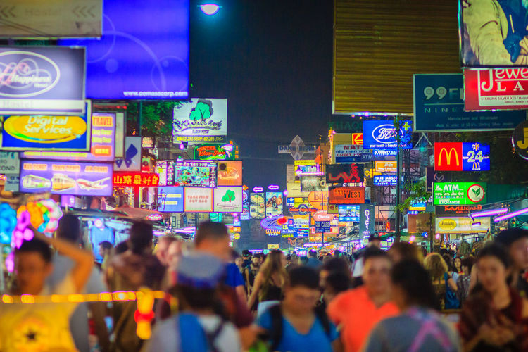 Bangkok, Thailand - March 2, 2017: Tourists and backpackers visited at Khao San Road night market. Khao San Road is a famous low budget hotels and guesthouses area in Bangkok. Khao San Rd Khao San Road KhaoSan Khaosan Rd. Khaosandroad Tourist Tourist Attraction  Tourists Adult Advertisement Architecture Building Exterior Built Structure City City Life Communication Crowd Group Of People Illuminated Khao San Khao San Knok Wua Khao San Rd. Khaosan Road Khaosanroad Large Group Of People Men Neon Night Night Market Night Market In Thailand Night Market, Real People Sign Text Tourist Destination Women