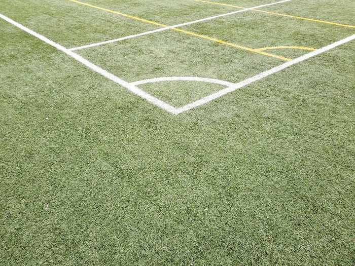 High angle view of corner marking on playing field