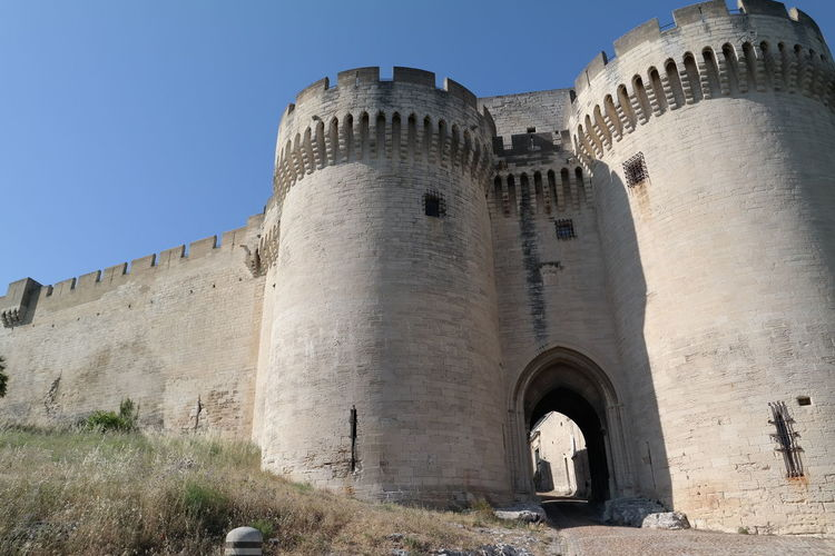 Blue Sky Castle Culture Historic Massive Provence Stone Wall Villeneuve-lez-avignon