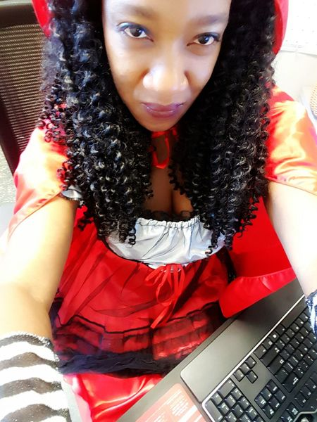 At work as wicked red riding hood, lol this year's harvest festival costume event. The contents I'm get are awesome and hilarious! 😘😍 #funatwork #thedarkside😂 #Kiku'sWorld #UnapologeticallyMe #BeYOUtiful loveyourselfenough Holloween🎃 Holloween2016 Costume JustMe Dressup Selfie✌ Selfies WorkLife Funatwork