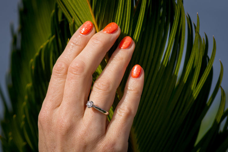 Engaged Engagement GOLD RING Love Manarola, Cinqueterre Diamond Ring Engage Engagement Photography Engagement Ring Orange Nails Woman Hand
