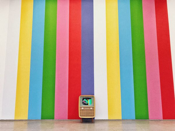 Fantastic Installation, took me straight to childhood memories. Still Life Static Television Stripes Tv Patern Multi Colored Choice No People Variation Indoors  Pattern Wall - Building Feature Striped Art And Craft Studio Shot Creativity Backgrounds In A Row Order