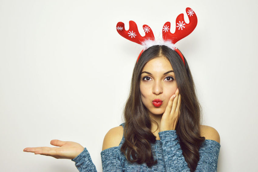 Christmas Copy Space Happy REINDEER HORNS Surprised Xmas Adult Beautiful Woman Excited Headshot Long Hair One Person One Young Woman Only People Portrait Present Product Red Showing Studio Shot Surprise Woman Portrait Woman Xmas Young Adult Young Women Black And White Friday Be. Ready. EyeEmNewHere