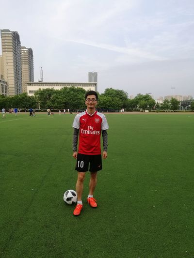 Sportsman Portrait Soccer Field Sport Full Length Competition Standing Soccer Shoe Looking At Camera Sports Clothing