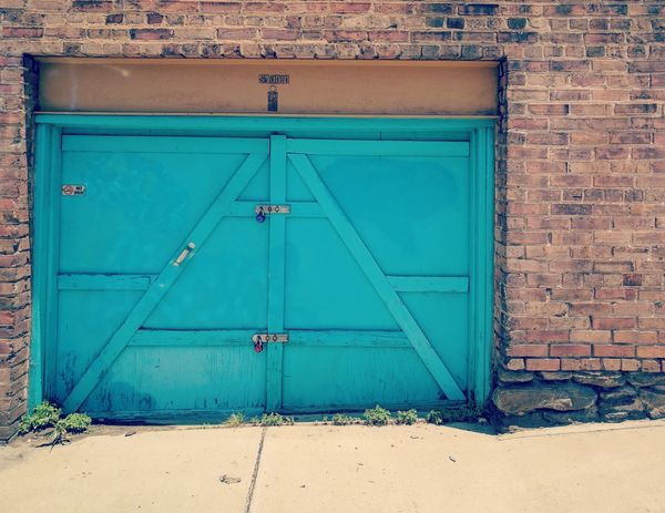 Architecture Brick Brick Wall Built Structure Contrast Door Doorway Entrance No People Teal First Eyeem Photo