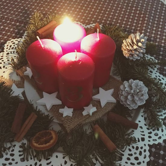 Candle Flame Indoors  Celebration Table Burning High Angle View No People Christmas
