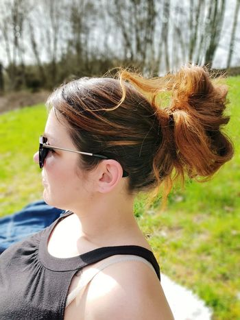 Green Trees Nature Sunny Day Young Women Portrait Headshot Beauty Close-up Hair Bun Sunglasses Hairstyle The Portraitist - 2018 EyeEm Awards