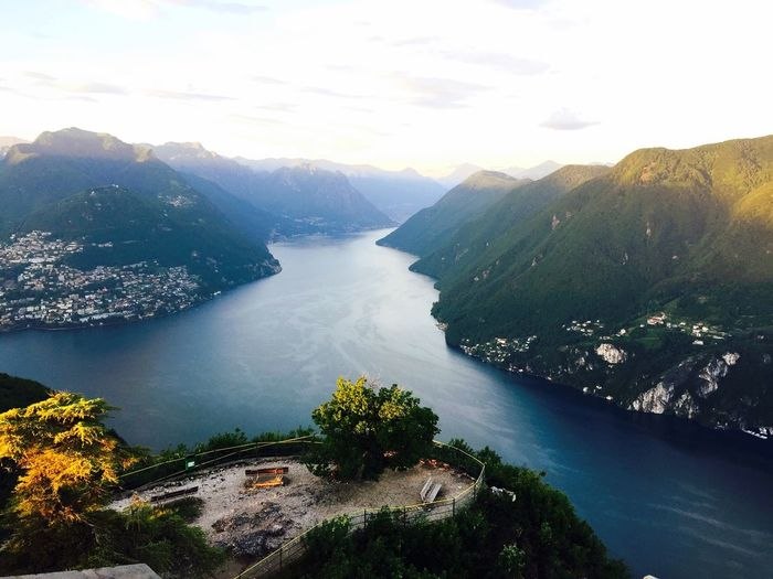 Lugano Sky Lake Lake View Alps Mountains Sunset Monte Bre