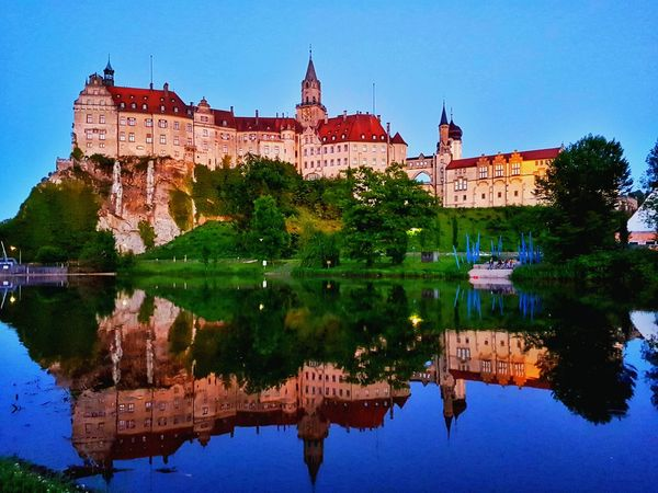 Sigmaringen castle in Germany Sigmaringen Germany Castle Schloss Water Colorful Goodvibes HDR Landscape Photography Water Reflection Outdoors Lake No People Sky Architecture Clear Sky