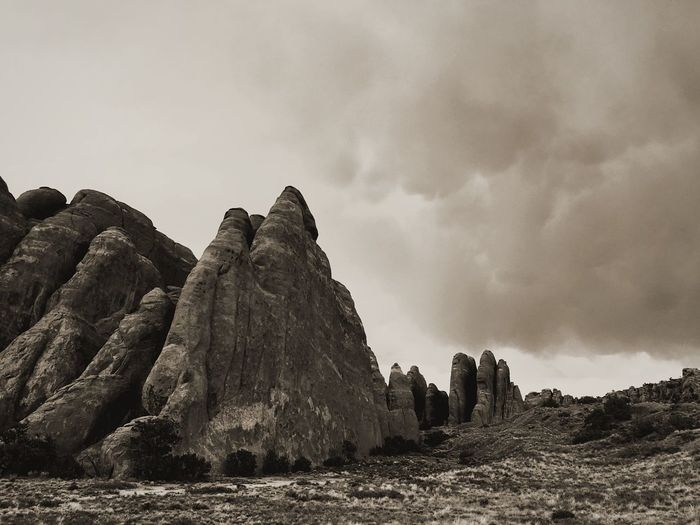 Rock - Object Sky No People Day Nature Scenics Outdoors Beauty In Nature National Park Arches National Park, Utah Dramatic Sky Dramatic Rock Formation Storm Storm Cloud Sepia Black And White Utah EyeEmNewHere Lost In The Landscape