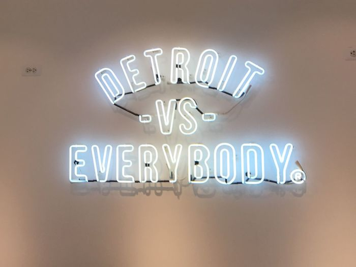 DetroitVsEverybody Text Western Script Communication No People Indoors  Close-up Illuminated