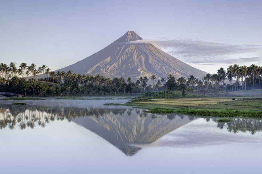 The Majestic - Mayon Volcano Daraga, Albay, Philippines Beauty In Nature Clear Sky Day EyeEm EyeEm Best Shots EyeEm Best Shots - Nature EyeEm Nature Lover Landscape Mayon Volcano Philippines Mayonvolcano Nature No People Outdoors Reflection Sky Tree Water