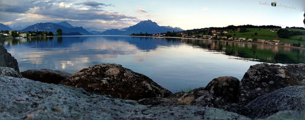 Vierwaldstättersee No People Beauty In Nature Huawei Mate 9 Huawei Photography Morningwalk Panorama Outdoors Cloud - Sky Landscape Mountain Pilatus Mt. Swiss Photographer Switzerlandpictures Swiss Mountains Water Reflection Special👌shot