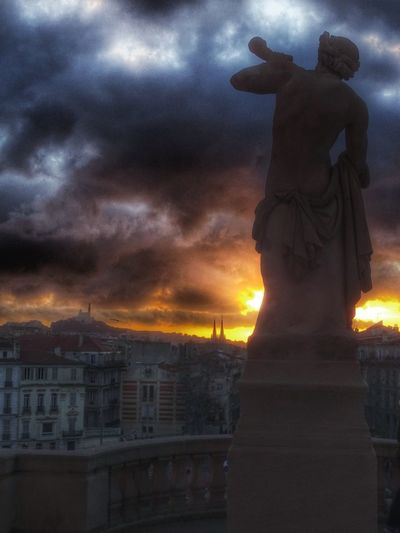 Marseilleinlove Marseillecity HDR Sunset_collection Sunset Silhouettes Sky And Clouds Clouds And Sky EyeEm Gallery EyeEm Selects Couleursdumonde Sunsetlovers Loveprovence Statue Night Sculpture Cityscape City Cloud - Sky Travel Destinations Architecture Sky Urban Skyline Outdoors No People Sunset