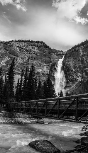 Waterfall And Footbridge In Wilderness Area
