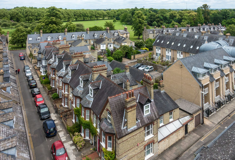 View to Jesus Green Architecture Building Building Exterior Built Structure Car City Community Day High Angle View House Nature No People Outdoors Plant Residential District Roof Roof Tile Street Town TOWNSCAPE Tree