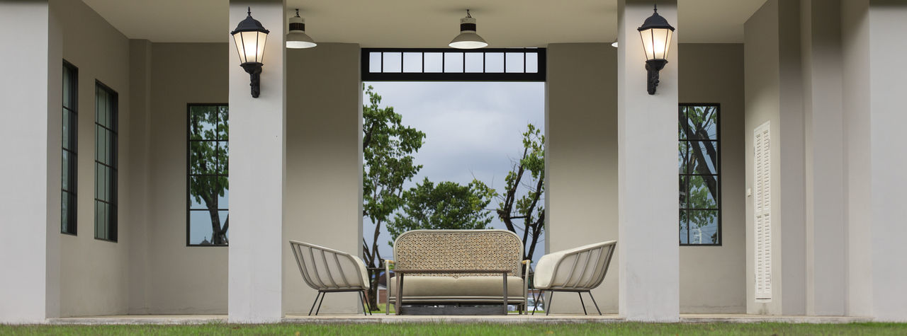 Modern Sofa and furniture.(Panorama picture) Seat Architecture Absence Built Structure Plant Chair No People Day Empty Building Window Nature Door Entrance Grass Outdoors Lighting Equipment Front Or Back Yard Architectural Column Modern Furniture House Living