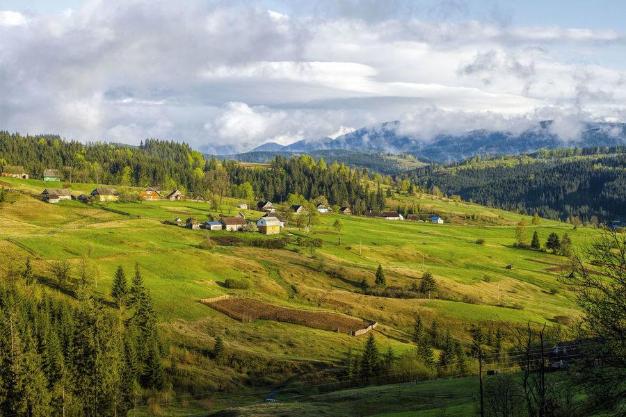 Carathians Hills Hills And Valleys Hills, Mountains, Sky, Clouds, Sun, River, Limpid, Blue, Earth Spring Springtime Transcarpathia Transcarpathian Region Ukraine Lost In The Landscape