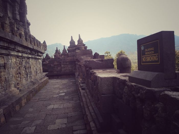 Borobudur Temple in Magelang . Central java. Indonesia Religion Architecture Travel Destinations Landscape Day Outdoors No People Fog Ancient Sky Travel Place Of Worship