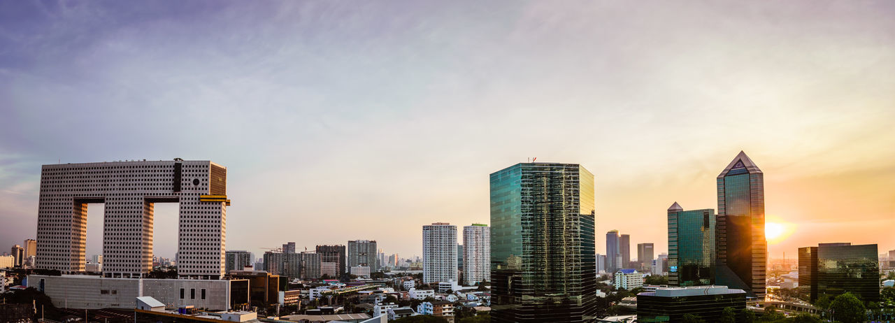 Architecture Bangkok Landmark Bangkok Thailand. Panoramic View Architecture Building Exterior Built Structure City Cityscape Cloud - Sky Downtown District Elephant Building Outdoors Panoramic Cityscape Panoramic Photography Skyscraper Sunset Thailanddestination