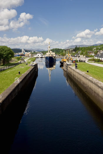 Caledonian canal at fort william with a ship