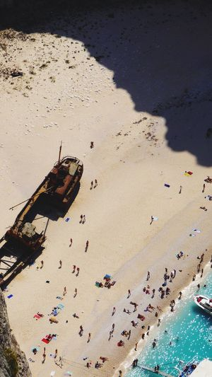 Aerial view of crowd at beach