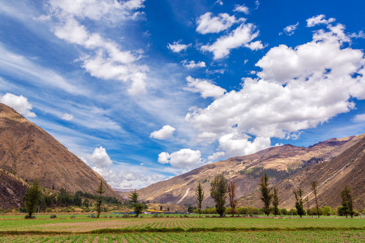 Scenic view of urubamba valley against sky