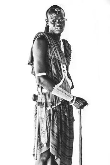 Masai Man Africa Masai Man EyeEmNewHere Portrait Studio Shot Tanzania Tribes White Background EyeEmNewHere Black And White Friday