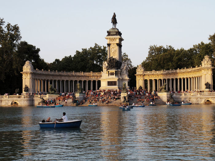 People At Monument Of Alfonso Xii In Buen Retiro Park