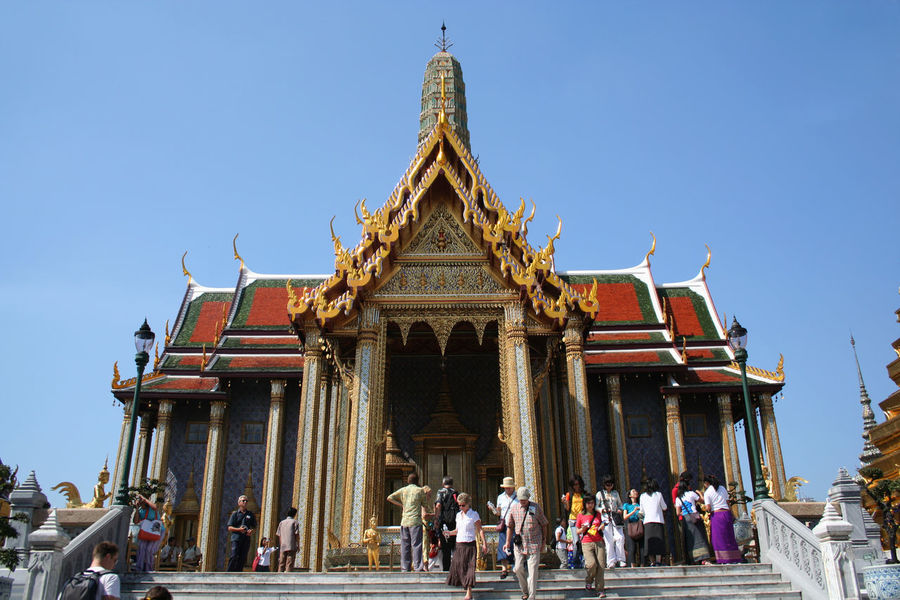 Architecture Bangkok Blue Building Exterior Built Structure Clear Sky Façade Large Group Of People Low Angle View Place Of Worship Roof Royal Palace Spirituality Spotted In Thailand Steps Temple - Building Temple Of Emerald Buddha Thailand Tourist Destination Travel Destinations