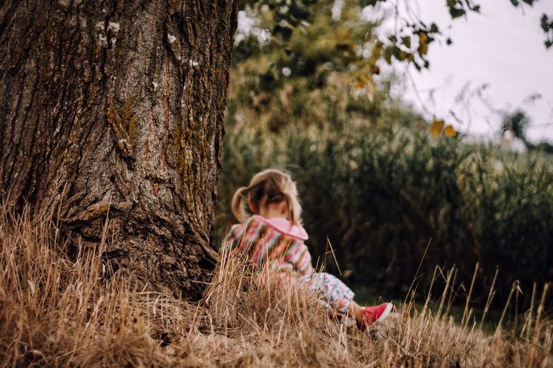 One Person Tree Childhood Full Length Grass Outdoors Day Sitting Leisure Activity Plant Nature One Girl Only Children Only Real People Blond Hair Animal Themes People Adult