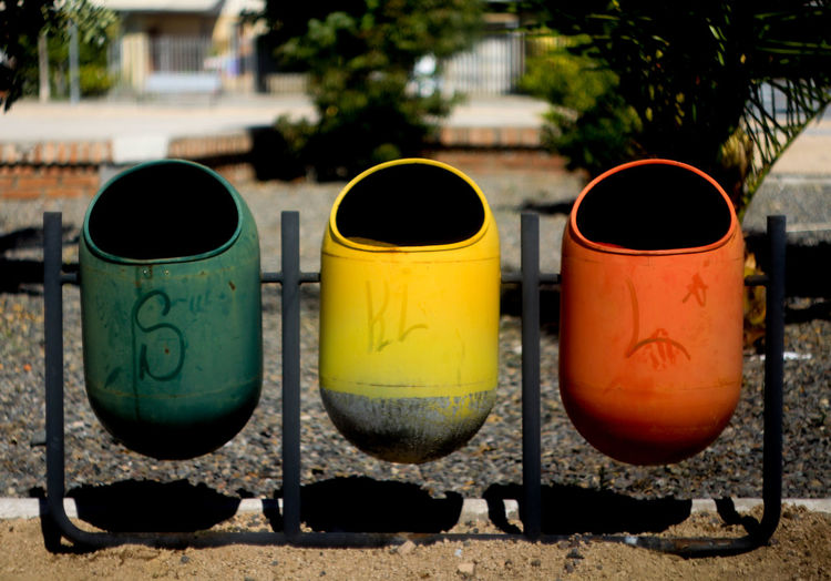 Close-up Day Garbage Can Multi Colored No People Outdoors Paint Can Trio